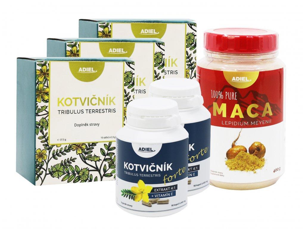intenzivní vitalita muže – Kotvičník čaj, Kotvičník zemní FORTE s vitamínem E, Maca 100% pure v prášku
