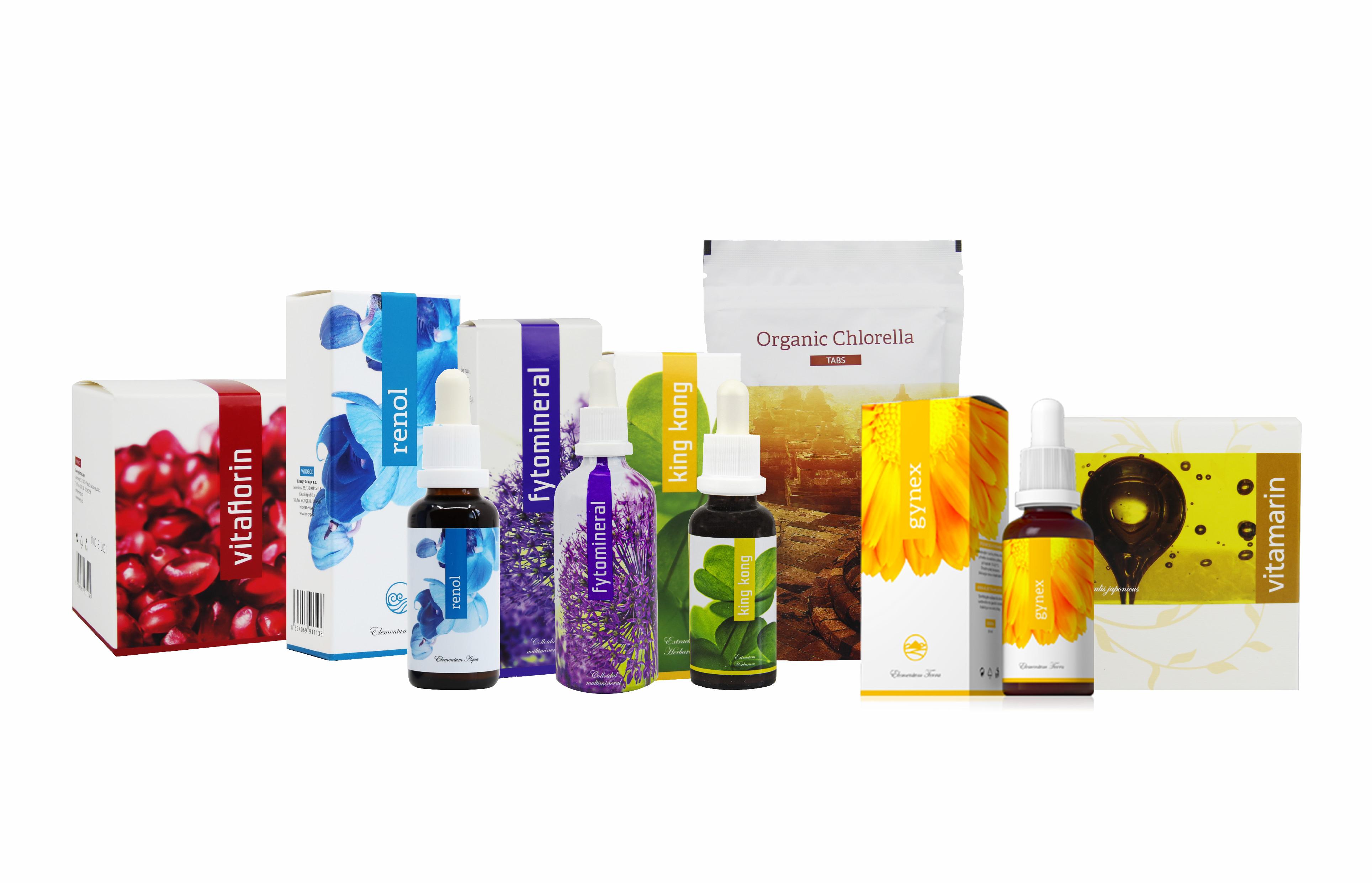 Levně Energy neplodnost 7 produktů Gynex 30 ml King kong 30 ml Renol 30 ml Fytominerál 100 ml Vitaflorin 90 kapslí Vitamarin 90 kapslí Chlerella 200 kapslí