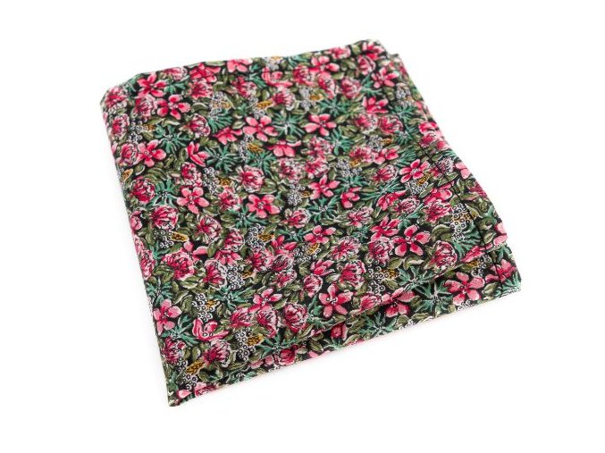0024 zeleny kapesnicek s ruzovymi kvety gustav min
