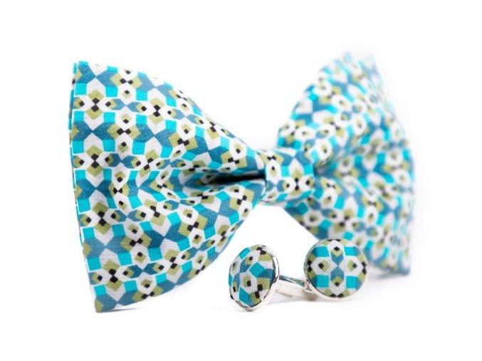 0067 set modreho motylka a manzetovych knofliku s originalnim geometrickym vzorem henry min