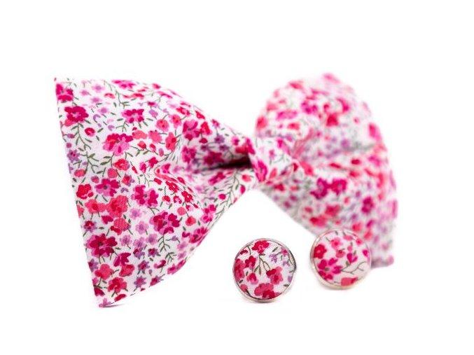 0068 set bileho motylka a manzetovych knofliku s ruzovymi kvety emanuel min