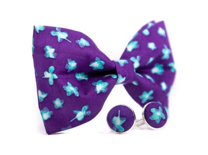 0073 set fialoveho motylka a manzetovych knofliku s modrymi kvety patrick min