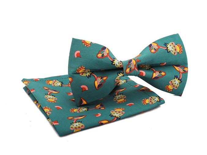 0084 set zeleneho motylka a kapesnicku s kvetinovym vzorem george min