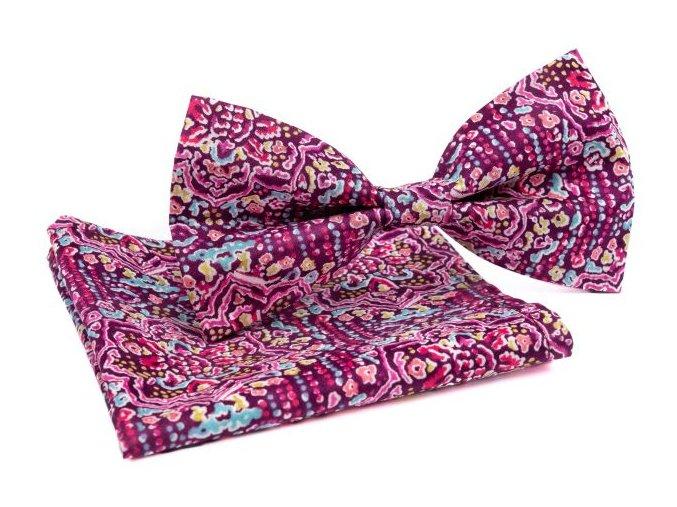 0085 fialovy orientalni set motylka a kapesnicku alim min