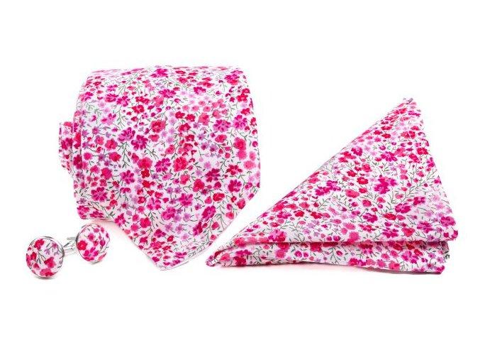 0089 set bile kravata kapesnicku a manzetovych knofliku s ruzovymi kvety emanuel min