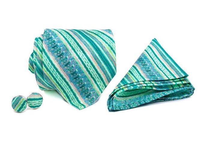 0092 set zelene a ruzove prouzkovane kravaty kapesnicku a manzetovych knofliku kvido min