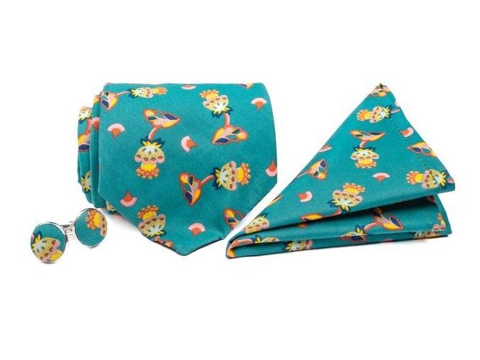 0097 set zelene kravaty kapesnicku a manzetovych knofliku s kvetinovym vzorem george min