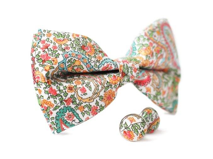0123 set motylku s paisley a kvetinovym vzorem a manzetovych knofliku do saka ludvig otto kilian min
