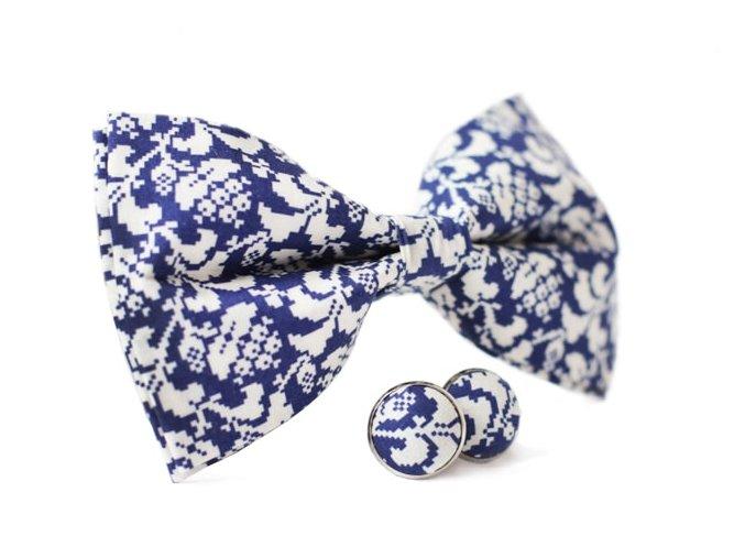 0125 set modreho motylka s bilym vzorem a manzetovych knofliku vincenzo otto kilian min