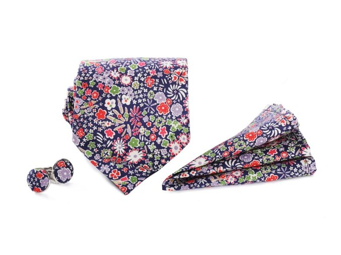 0129 set tmave modreho motylka s barevnymi kvety kapesnicku do saka a manzetovych knofliku peter otto kilian min