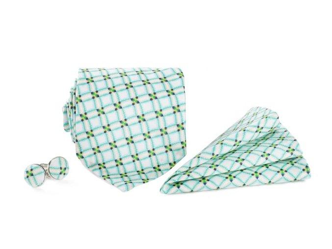 0130 set sede a tyrkysove kostkovane kravaty kapesnicku do saka a manzetovych knofliku eduard otto kilian min