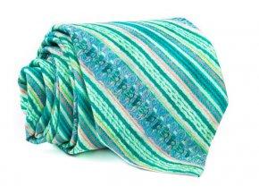 0050 zelena a ruzova prouzkovana kravata kvido min
