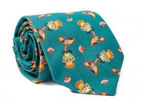 0055 zelena kravata s kvetinovym vzorem george min