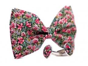 0062 set zeleneho motylka a manzetovych knofliku s ruzovymi kvety gustav min