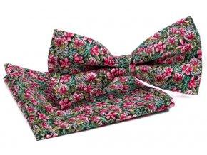 0076 set zeleneho motylka a kapesnicku s ruzovymi kvety gustav min