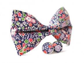 0124 set cerneho motylka s barevnymi kvety a manzetovych knofliku peter otto kilian min