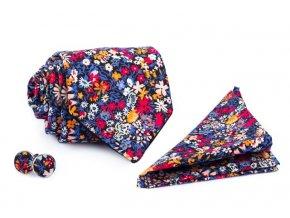set retro kravaty kapesnicku a manzetovych knofliku s kvetinovym vzorem quentin otto kilian min