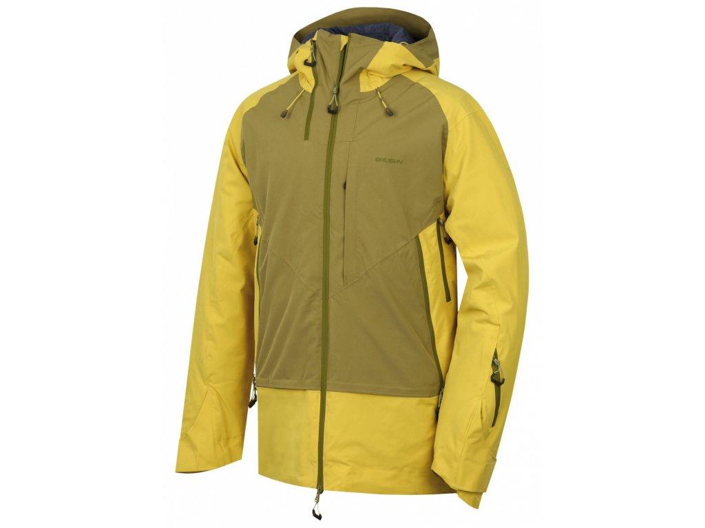 Husky Pánská hardshell bunda Gambola žlutozelená/khaki