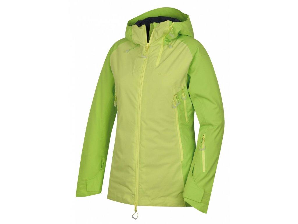Husky Lyžařská plněná bunda Gambola výrazně zelená / sv. zelená