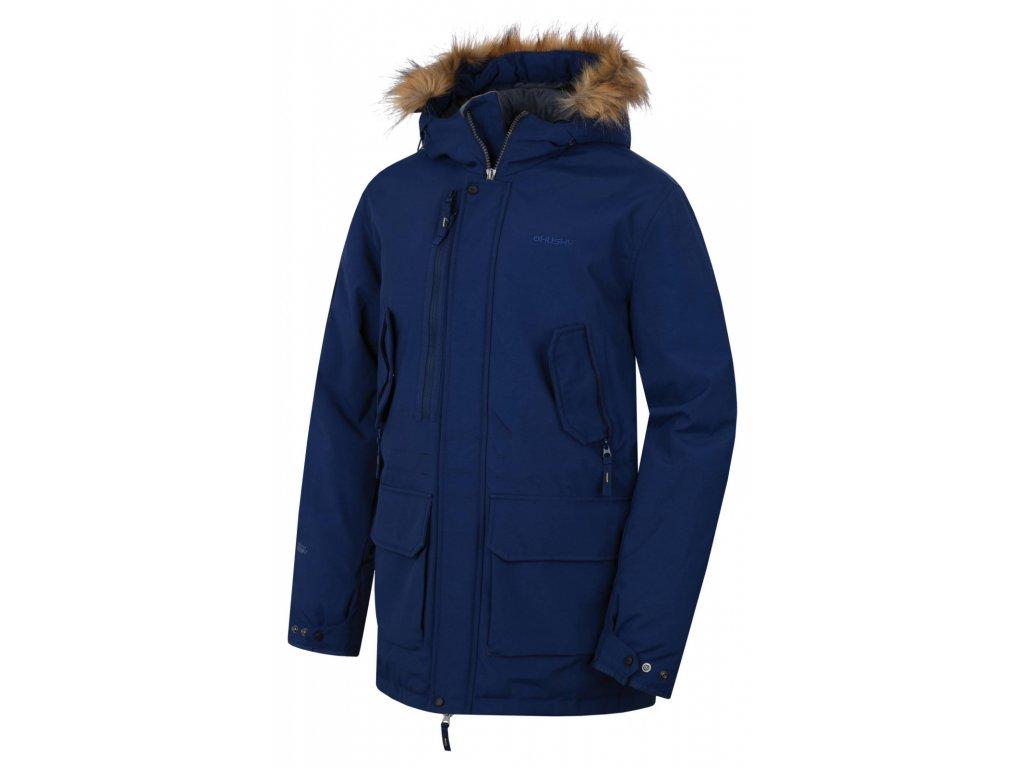 Husky Pánský plněný zimní kabát Nelidas tm. modrá