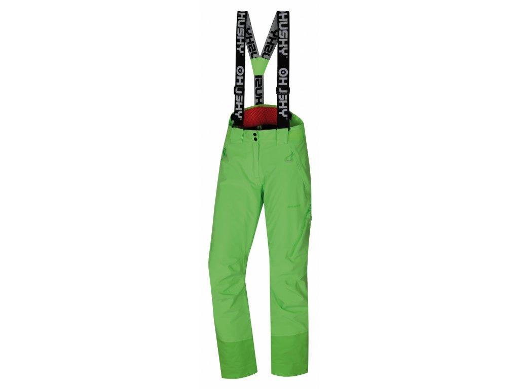 Husky Dámské lyžařské kalhoty Mitaly neonově zelená