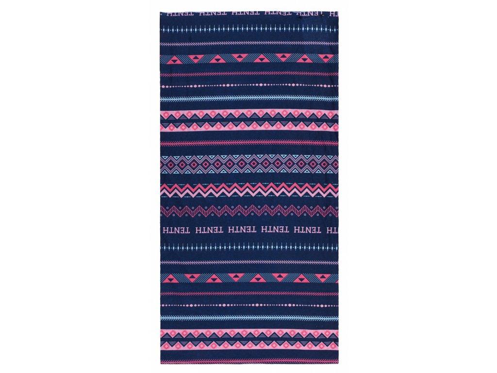 Husky multifunkční šátek Printemp pink triangle stripes