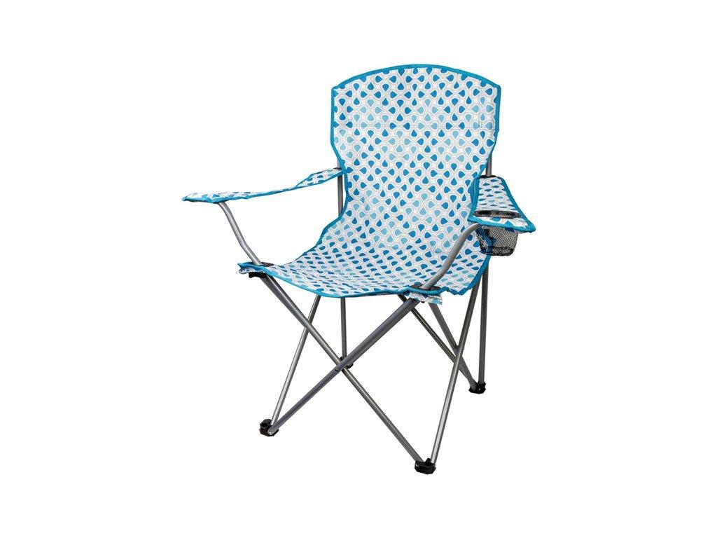 Highlander MORAY skládací židle s opěrkami - modrá/bílá
