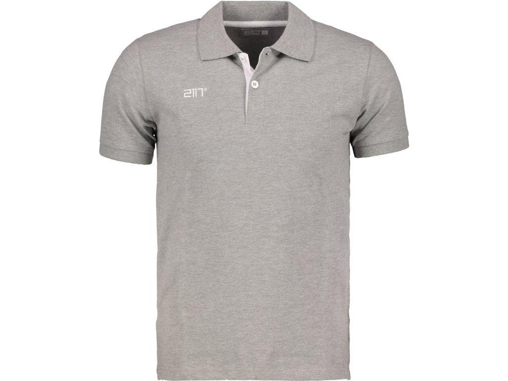 2117 LAXSJÖ - polo triko z piké bavlny - šedé melange