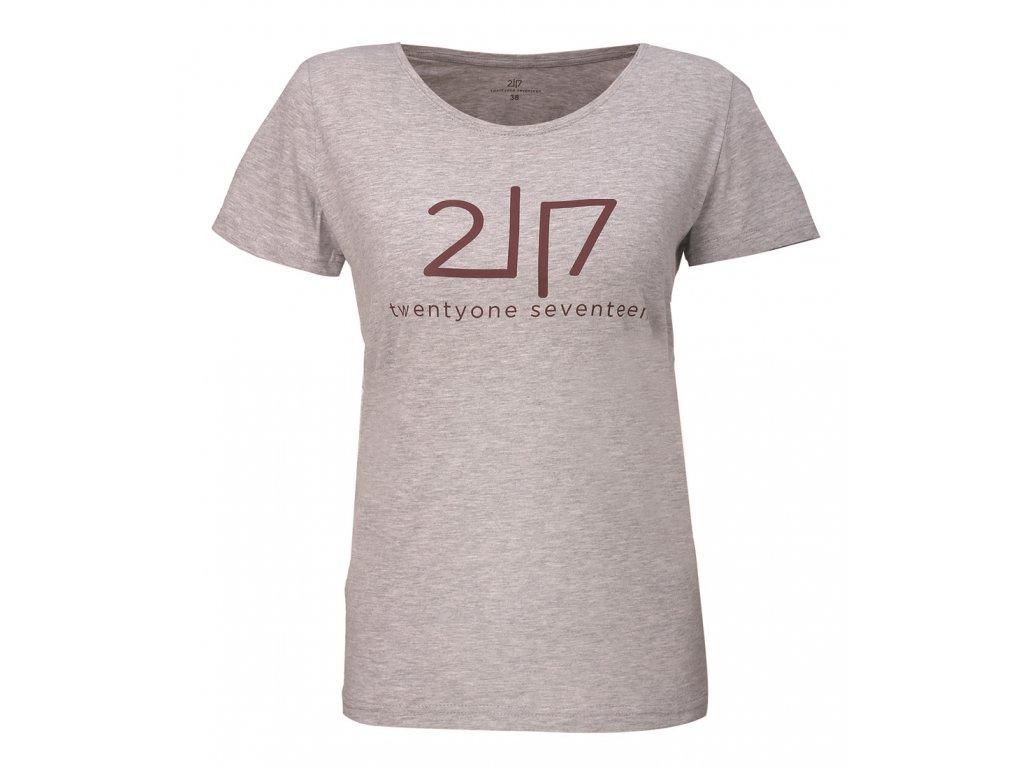 2117 VIDA - bavlněné triko s kr. rukávem - šedé melange