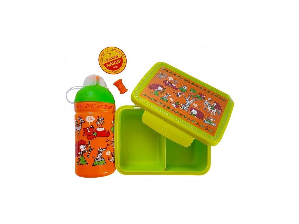 Kvalitní set lahvičky a krabičky s antibakteriálním účinkem RB Mědílek Rebelka v zeleno-oranžové barvě