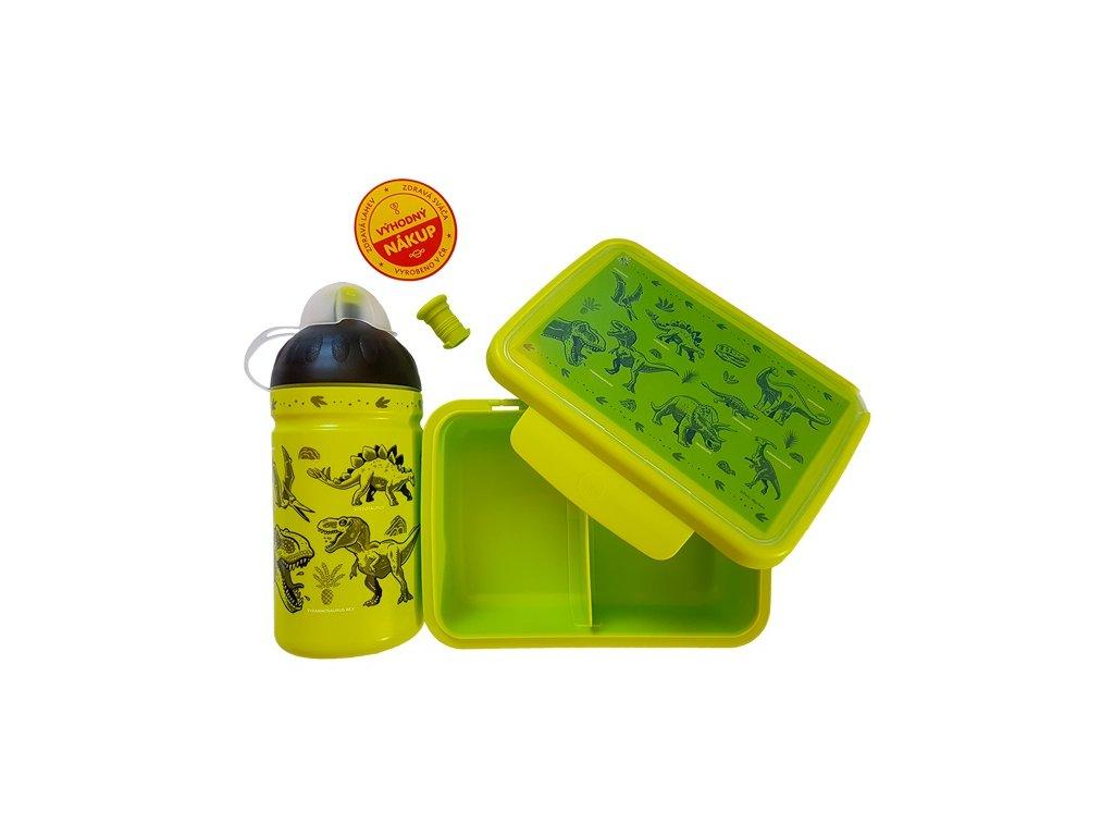 Kvalitní set lahvičky a krabičky s antibakteriálním účinkem RB Mědílek Dinosauři v zelené barvě