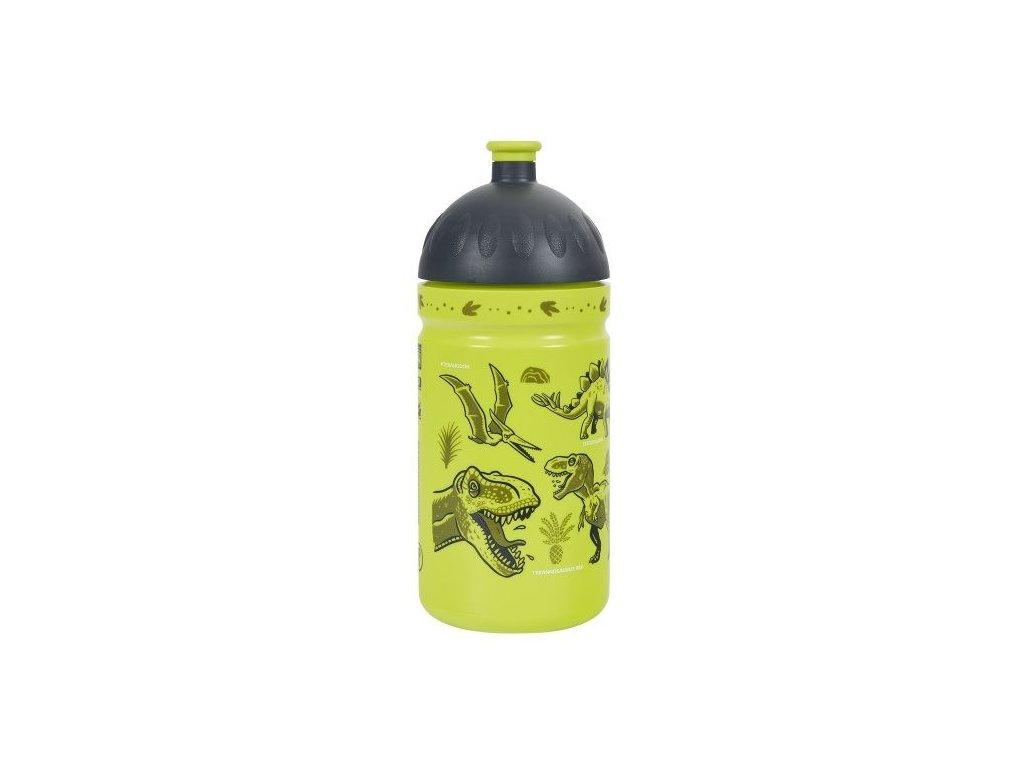 Kvalitní plastová dětská láhev bez BPA Zdravá láhev Dinosauři 0,5 l v zelené barvě