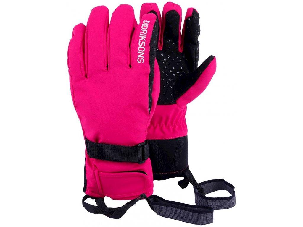 Kvalitní dětské zimní nepromokavé rukavice prstové Didriksons 1913 FIVE JR v růžové barvě