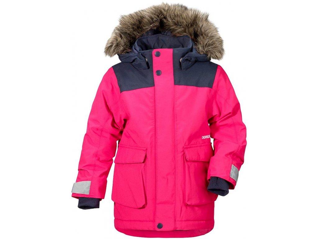 Kvalitní dětská zimní zateplená bunda s kapucí a reflexními prvky Didriksons 1913 Kure v růžové barvě
