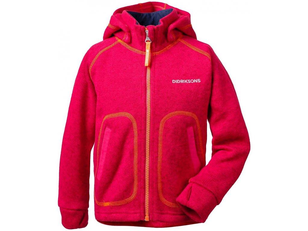 Kvalitní dětská hřejivá jarní fleecová mikina Didriksons 1913 Strokken v růžové  barvě 4279386a97