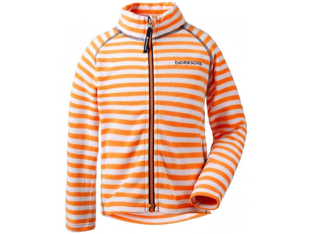 Kvalitní dětská hřejivá jarní fleecová mikina Didriksons 1913 Monte v oranžové barvě