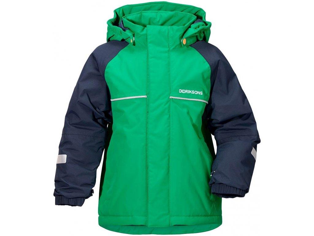 Kvalitní dětská zimní zateplená bunda s kapucí a reflexními prvky Didriksons 1913 Idde v zelené barvě