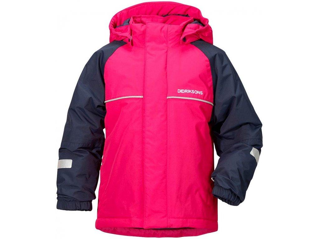 Kvalitní dětská zimní zateplená bunda s kapucí a reflexními prvky Didriksons 1913 Idde v růžové barvě