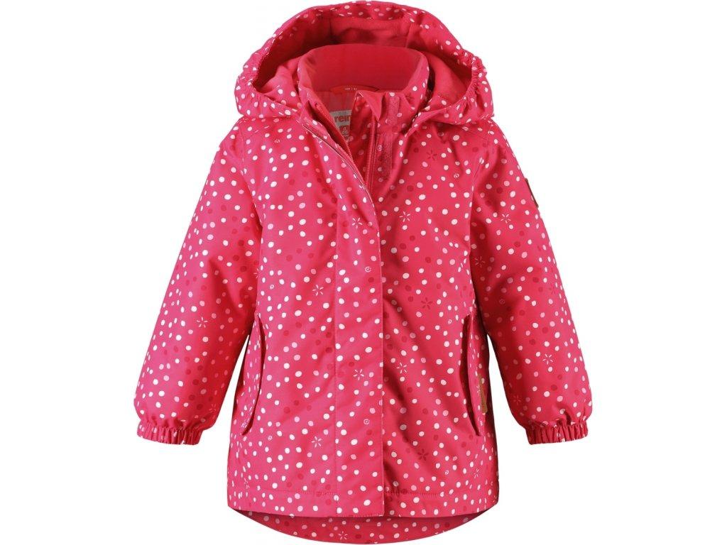 Kvalitní dětská zimní membránová bunda s odnímatelnou kapucí a reflexními prvky Reima Ohra rose ve světle červené barvě