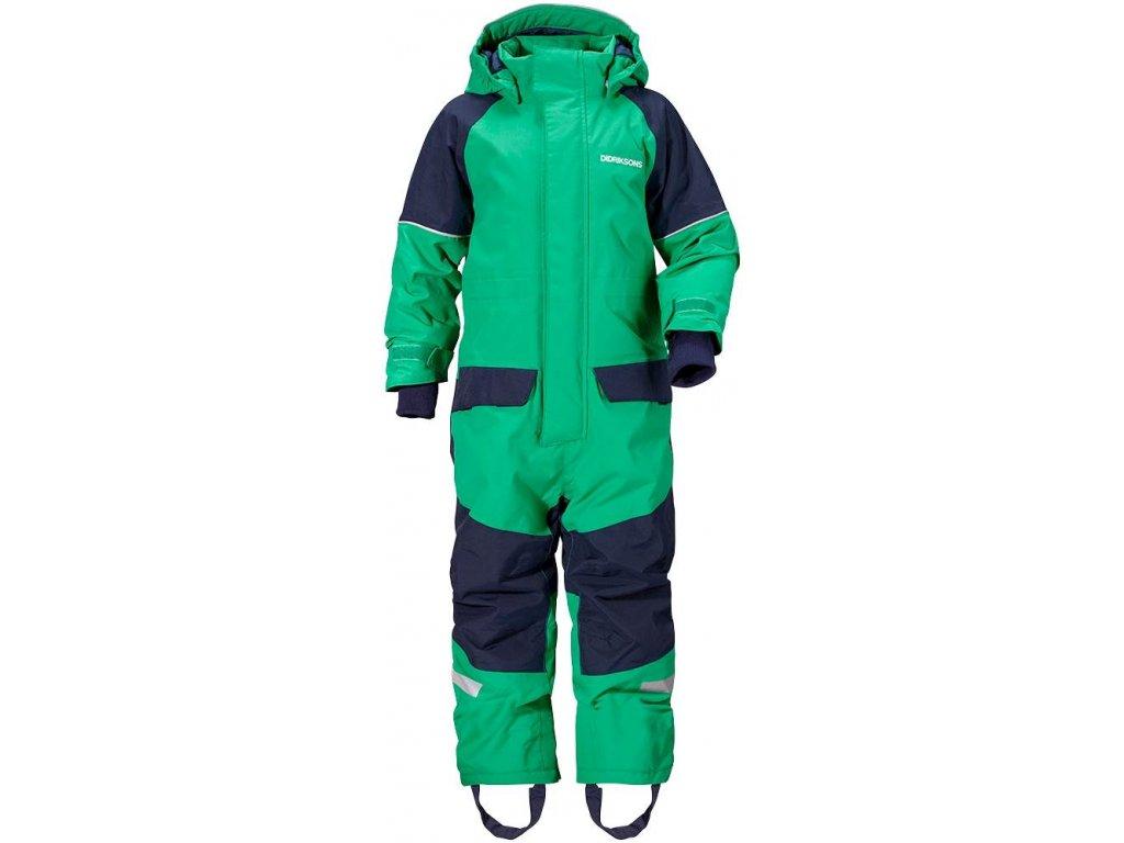 Kvalitní dětský zimní overal s odnímatelnou kapucí a reflexními prvky Didriksons 1913 Bille v zelené barvě