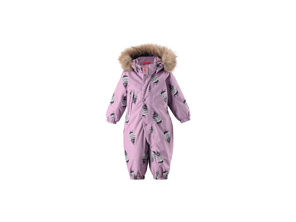 Kvalitní dětský membránový overal s odnímatelnou kapucí a reflexními prvky Reima Louna heather pink v růžové barvě