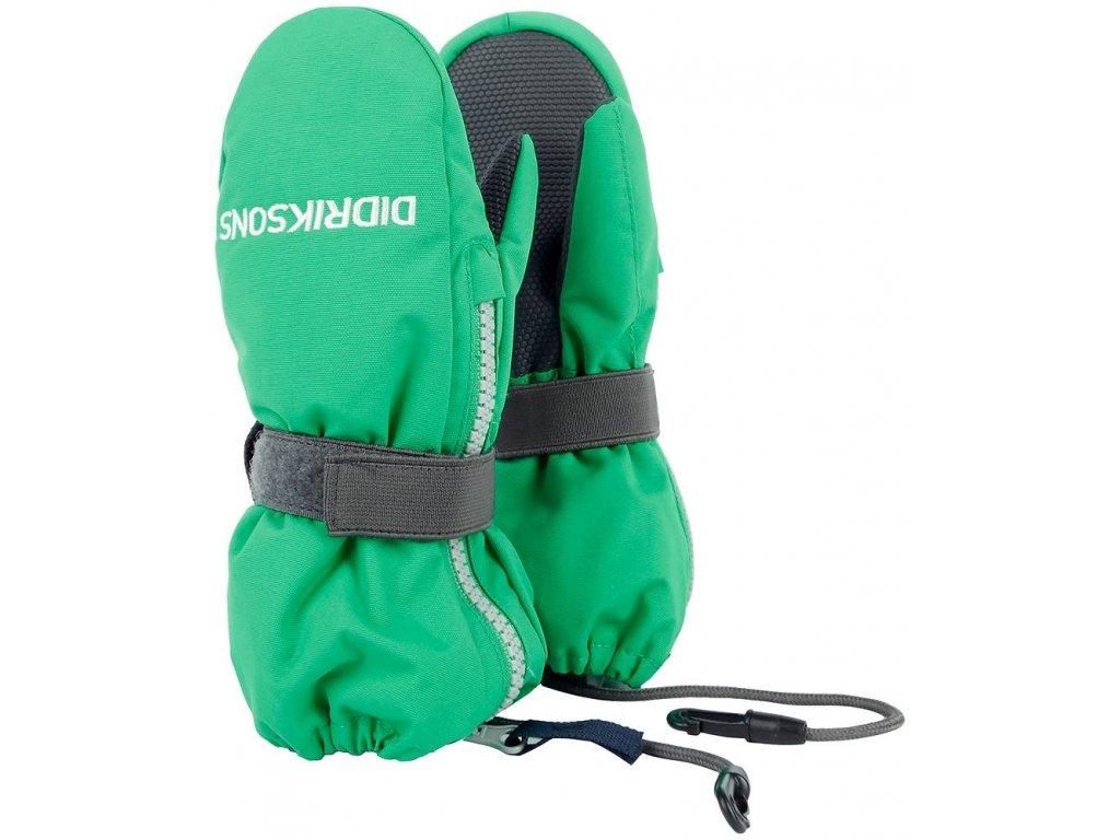 Kvalitní dětské zimní nepromokavé rukavice palčáky Didriksons 1913 Biggles zip v zelené barvě