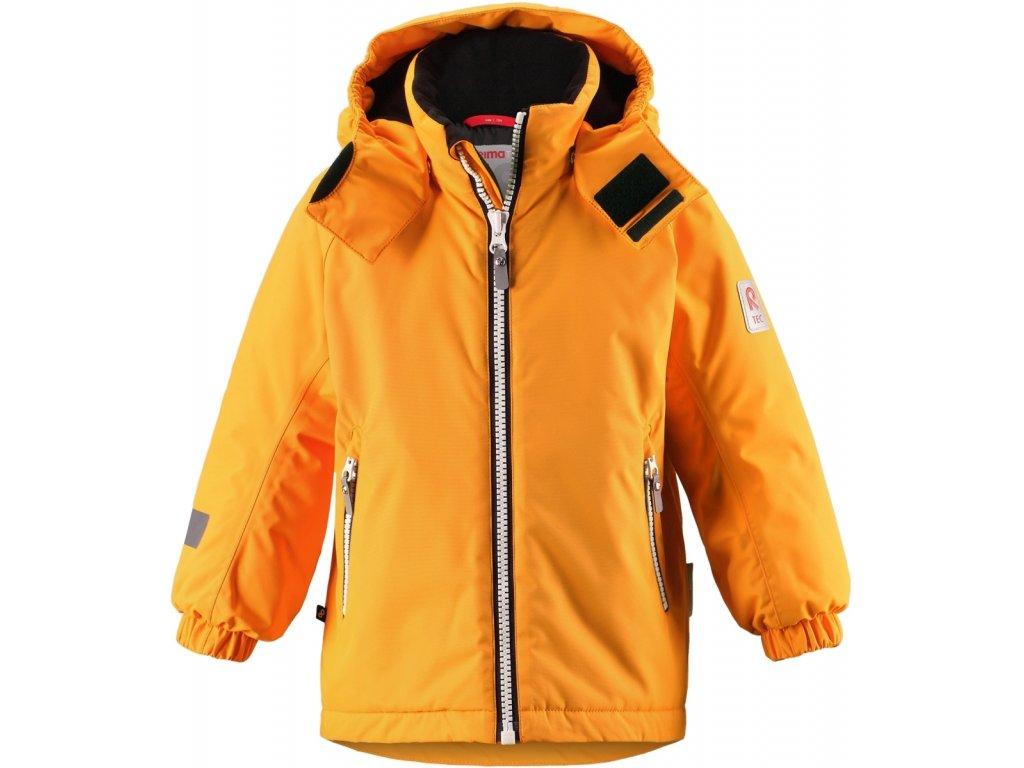 Kvalitní dětská zimní membránová bunda s odnímatelnou kapucí a reflexními prvky Reima Reili mango v oranžové barvě