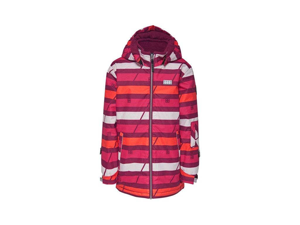 Kvalitní dětská zimní zateplená bunda s odnímatelnou kapucí a reflexními prvky LEGO® Wear Tec Jamila 775 v růžové barvě