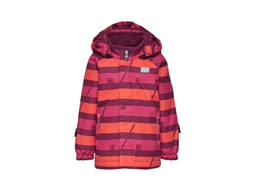 Kvalitní dětská zimní zateplená bunda s odnímatelnou kapucí a reflexními prvky LEGO® Wear Tec Josie 773 v červené barvě