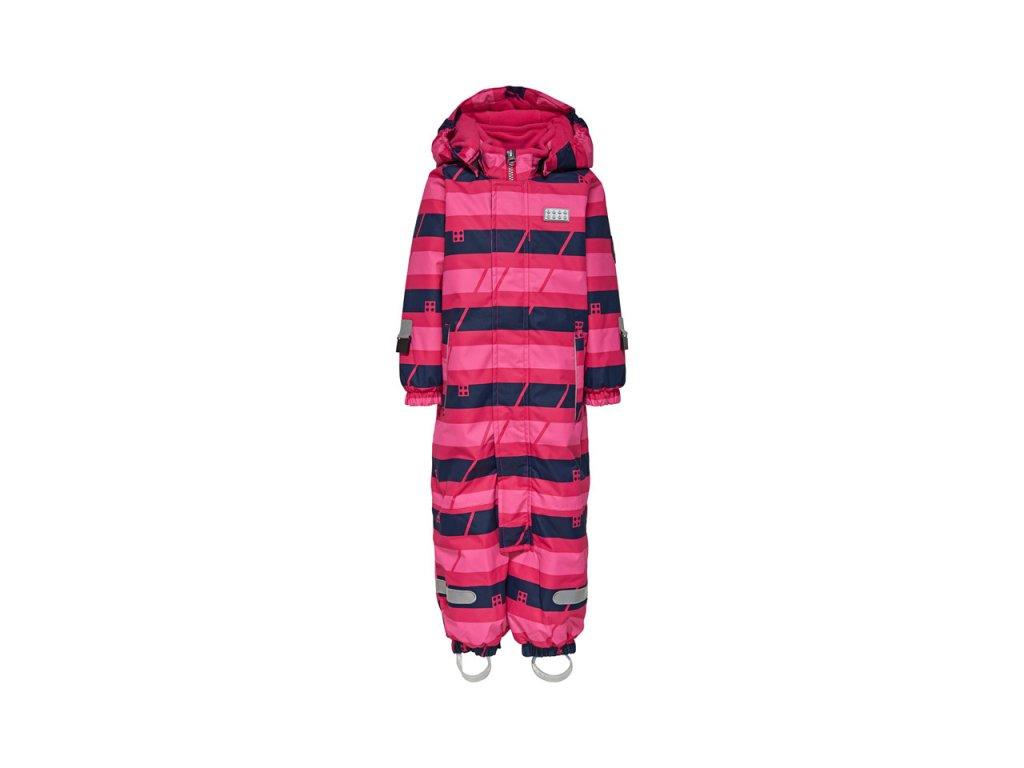 Kvalitní dětská zimní kombinéza s odnímatelnou kapucí a reflexními prvky LEGO® Wear Tec Johan 778 v růžovo-modré barvě
