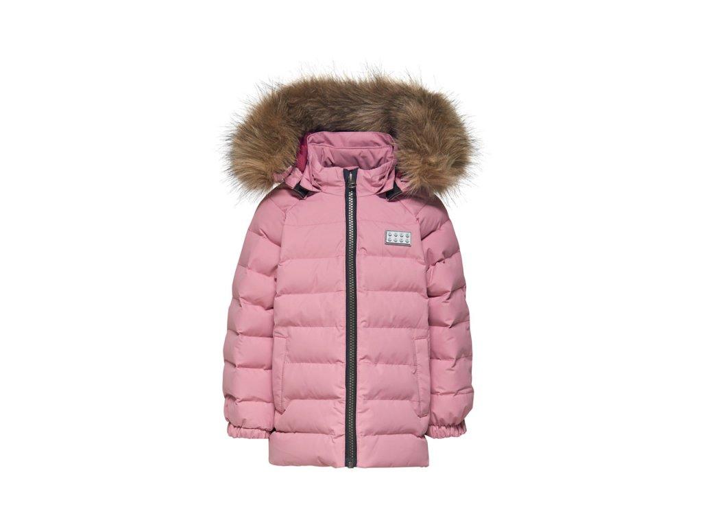 Kvalitní dětská zimní zateplená bunda s odnímatelnou kapucí a reflexními prvky LEGO® Wear Josie 793 v růžové barvě