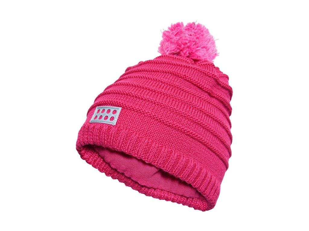 Kvalitní dětská zimní čepice s bambulí LEGO® Wear Aiden 712 v růžové barvě f50f8e959e