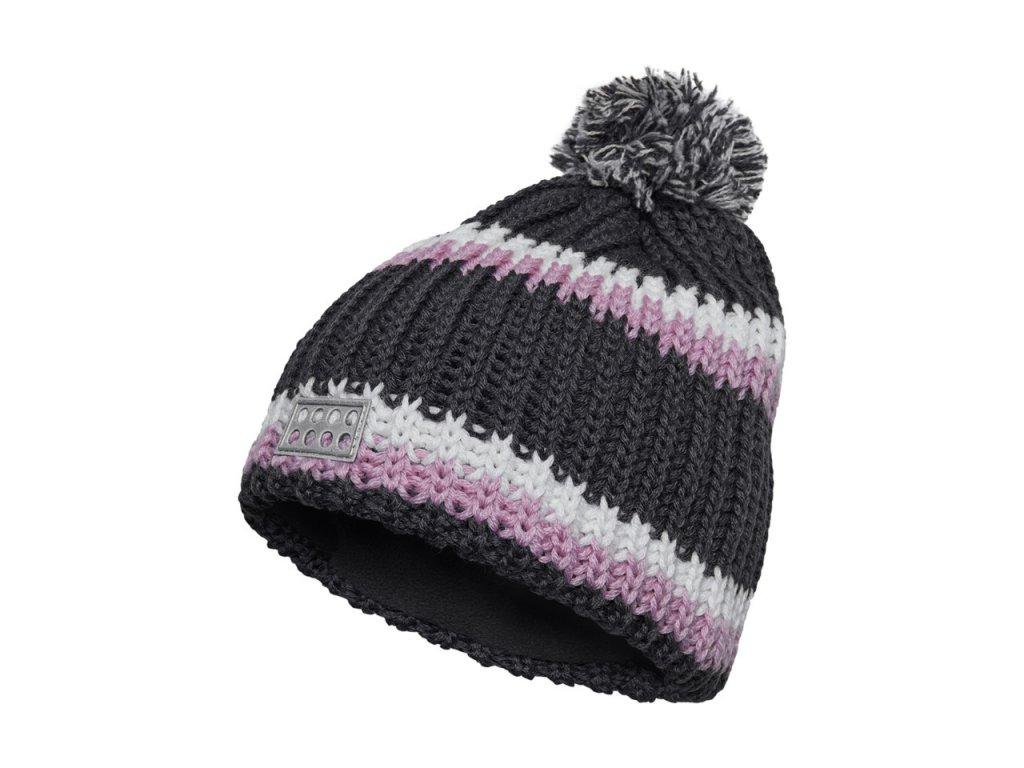 43204009139 Kvalitní dětská zimní pletená čepice s bambulí LEGO® Wear Aiden 718 v šedé  barvě