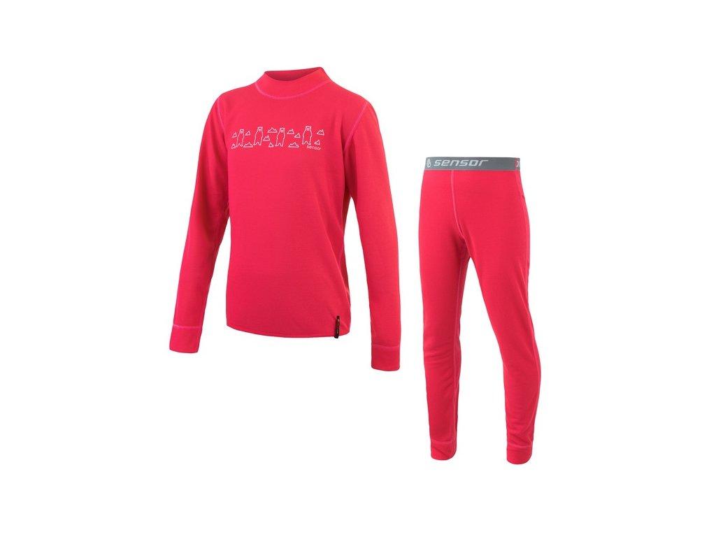 Kvalitní dětské teplé a příjemné funkční prádlo Sensor Double Face set Bears v barvě magenta